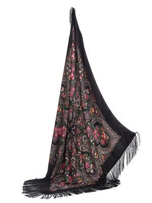 Платок с павлопосадским узором и длинной бахромой, 111 x cm Nothing but Love. Цвет: черный, зеленый, розовый