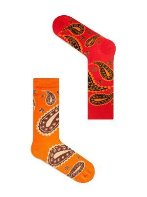 Набор Солнечный Дели (2 пары в упаковке), дизайнерские носки SOXshop. Цвет: красный,оранжевый