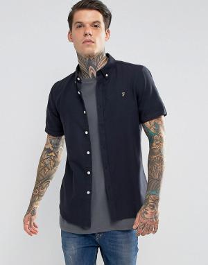 Farah Зауженная рубашка с длинными рукавами. Цвет: темно-синий