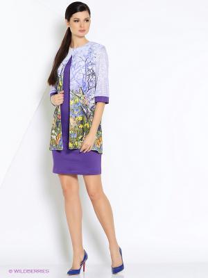 Костюм (кардиган+платье) ADZHEDO. Цвет: сиреневый, молочный