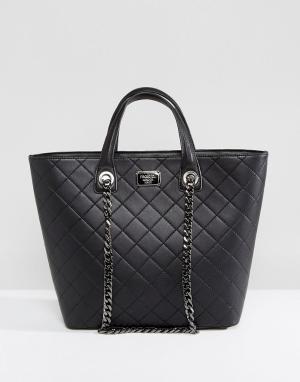 Marc B Черная стеганая сумка-тоут с цепочкой. Цвет: черный