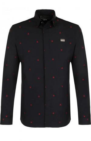 Хлопковая рубашка с контрастной отделкой Philipp Plein. Цвет: черный
