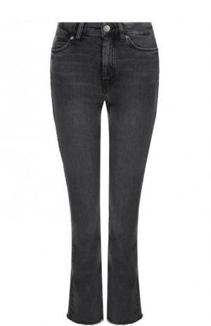 Укороченные расклешенные джинсы с потертостями MiH Jeans. Цвет: серый