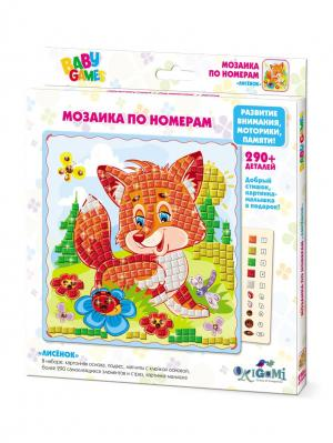 Origami. Мозаика по номерам  Лисенок Origami. Цвет: светло-зеленый, оранжевый, светло-голубой