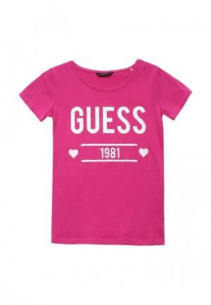 Футболка Guess. Цвет: фуксия