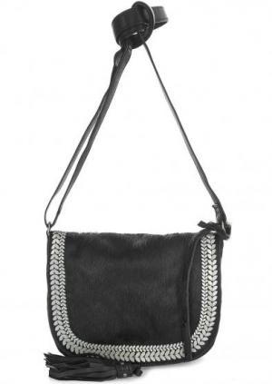 Маленькая сумка из натуральных кожи и меха через плечо Tyoulip Sisters. Цвет: черный