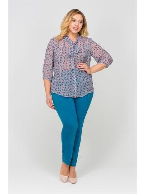 Блузка Интикома. Цвет: бирюзовый