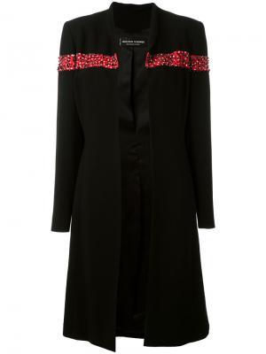 Пальто с декором в виде пайеток и бусин Jean Louis Scherrer Vintage. Цвет: чёрный