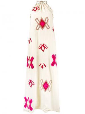 Вышитое платье Lila All Things Mochi. Цвет: телесный