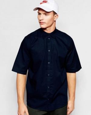 Weekday Темно-синяя свободная рубашка с короткими рукавами Pointbreak. Цвет: темно-синий