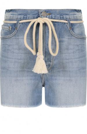 Джинсовые мини-шорты с потертостями Frame Denim. Цвет: голубой