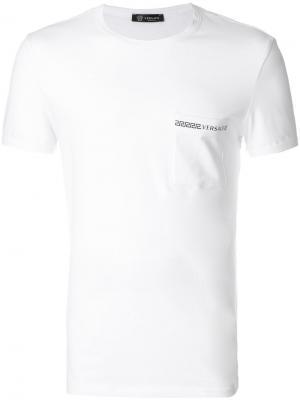 Пижамная футболка с логотипом Versace. Цвет: белый