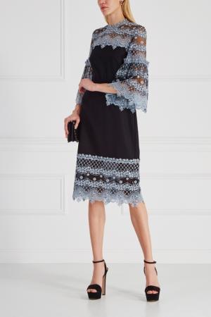 Шерстяное платье Blet Kiya Erdem. Цвет: черный, голубой