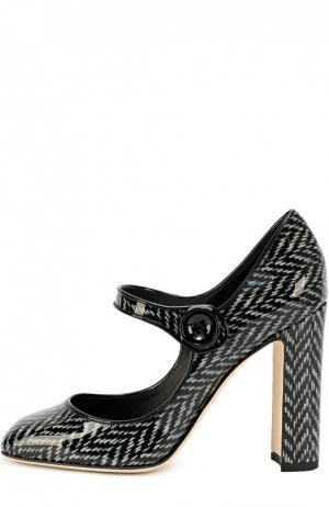Лаковые туфли Vally с принтом Dolce & Gabbana. Цвет: черно-белый