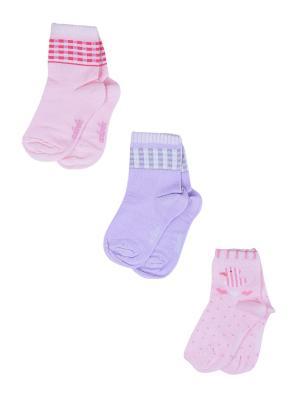 Носки Детские,комплект 3шт Malerba. Цвет: сиреневый, розовый