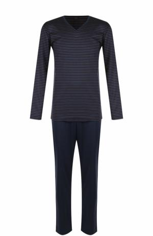 Хлопковая пижама с брюками Hanro. Цвет: темно-синий