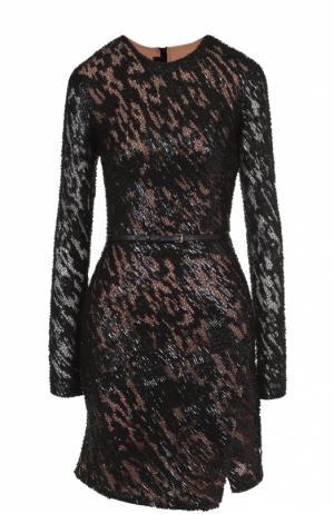 Приталенное мини-платье с длинным рукавом и разрезом Elie Saab. Цвет: черный