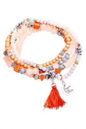 Браслет, 4 шт Boho Chic. Цвет: оранжевый, бежевый, серебряный