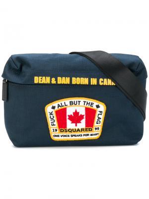 Поясная сумка с нашивкой флага Dsquared2. Цвет: синий