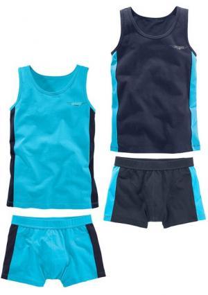 Комплект, 4 части: 2х майка + боксеры LE JOGGER. Цвет: темно-синий+бирюзовый
