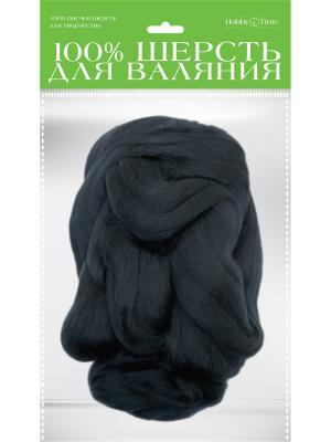 Шерсть для валяния полутонкая (гребенная лента), черная, 50 гр. Альт. Цвет: черный