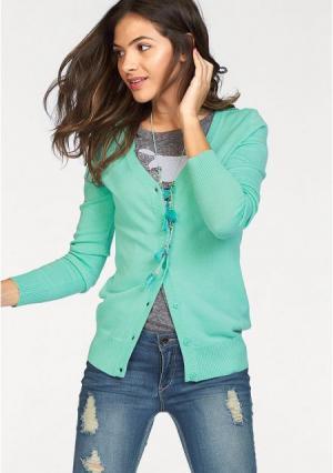 Кардиган AJC. Цвет: бирюзовый, дымчато-синий, зелено-синий, коричневый, черный, ярко-розовый