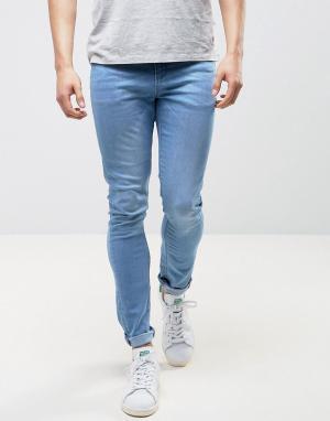 LDN DNM Голубые джинсы с напылением. Цвет: синий