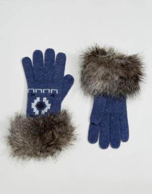 Alice Hannah Перчатки с меховой отделкой. Цвет: синий