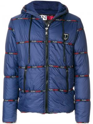 Стеганая куртка с логотипом Plein Sport. Цвет: синий