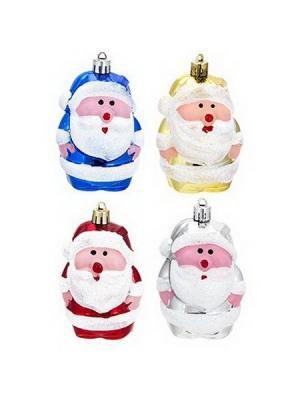 Подвеска в виде Деда Мороза, 8см, пластик, 8ADC1-C103 СНОУБУМ. Цвет: красный, золотистый, синий