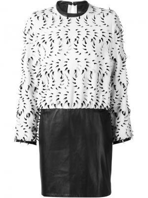 Платье с аппликацией в форме зубов Iris Van Herpen. Цвет: белый