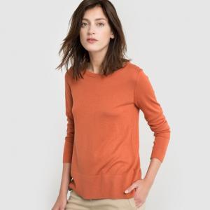 Пуловер двухцветный, шерсть в составе R essentiel. Цвет: красный темный