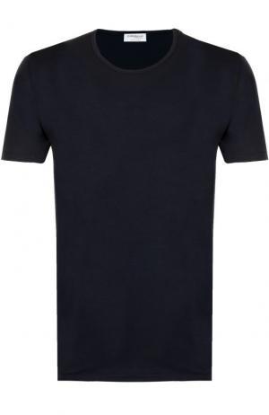 Хлопковая футболка с круглым вырезом Zimmerli. Цвет: темно-синий