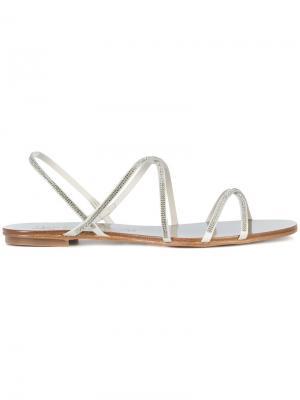 Декорированные сандалии Pedro Garcia. Цвет: металлический