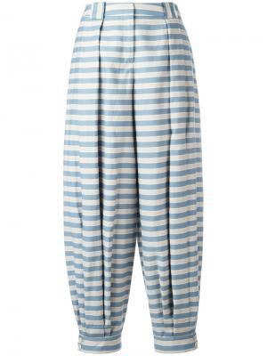 Полосатые брюки Jil Sander Navy. Цвет: синий