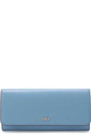 Кожаный кошелек с клапаном и логотипом бренда Furla. Цвет: голубой