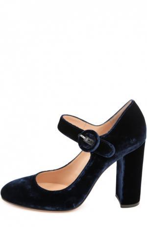 Бархатные туфли Lorraine с ремешком Gianvito Rossi. Цвет: темно-синий