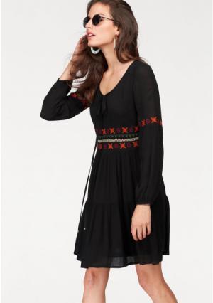 Платье Aniston. Цвет: черный/оранжевый/бежевый/зеленый-красный