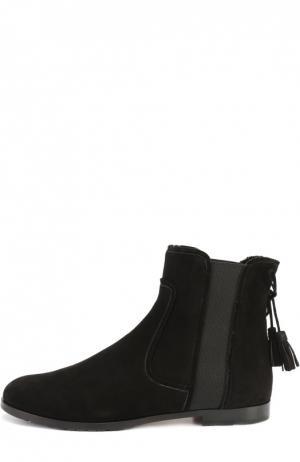 Замшевые ботинки с кисточками Aquazzura. Цвет: черный