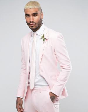 ASOS Бледно-розовый супероблегающий пиджак Wedding. Цвет: розовый