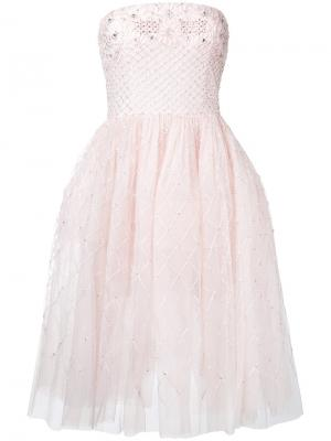 Платье без бретелей из тюля Zuhair Murad. Цвет: розовый и фиолетовый