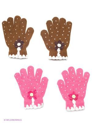Перчатки, 2 пары FOMAS. Цвет: коричневый, розовый