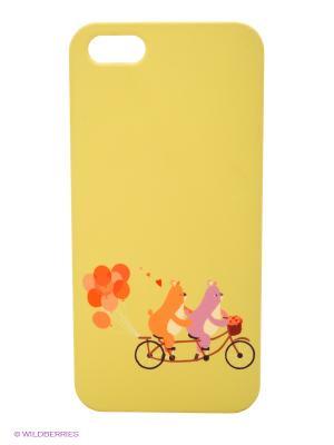 Чехол для IPhone 5 Мишки на велике с шариками Mitya Veselkov. Цвет: салатовый
