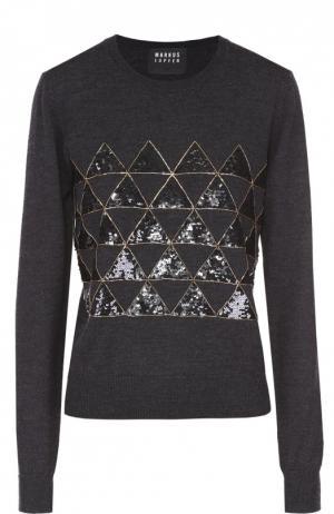 Пуловер прямого кроя с контрастной вышивкой Markus Lupfer. Цвет: темно-серый