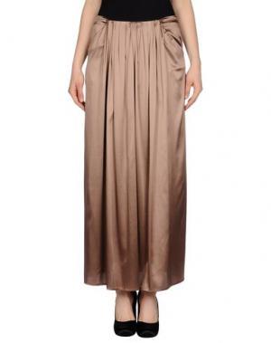 Длинная юбка NIU'. Цвет: светло-коричневый