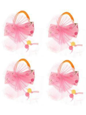 Бантики для волос на длинных резинках бантик с вишенками, набор 2 по шт, светло-розовые Радужки. Цвет: бледно-розовый