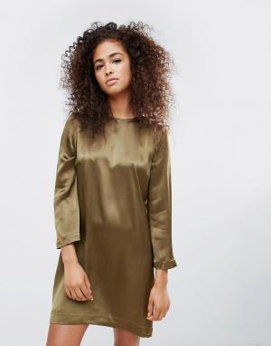 Ganni Атласное платье с цветочным принтом Sanders. Цвет: зеленый