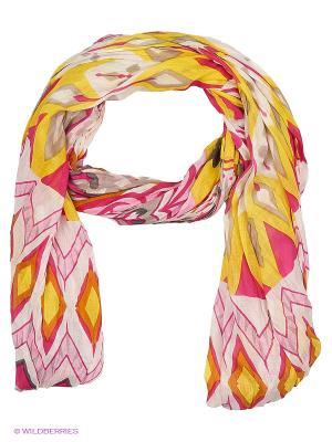 Платок United Colors of Benetton. Цвет: горчичный, золотистый, розовый