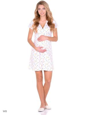Ночная сорочка для беременных и кормящих FEST. Цвет: белый, голубой, оранжевый