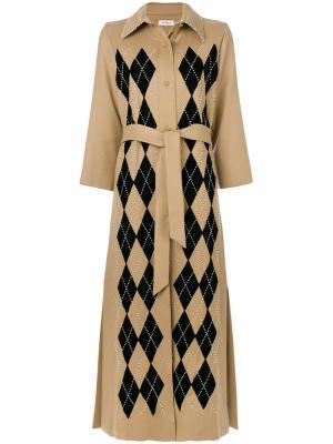 Пальто в ромб с поясом на талии Attico. Цвет: коричневый